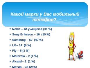Nokia – 48 учащихся (31 %) Sony Eriksson – 16 (10 %) Samsung – 62 (40 %) LG–
