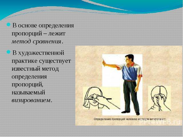 В основе определения пропорций – лежит метод сравнения. В художественной пра...