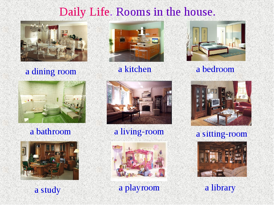 Daily Life. Rooms in the house. a dining room a kitchen a bedroom a bathroom...