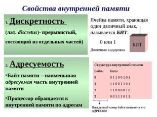 Свойства внутренней памяти 1. Дискретность (лат. discretus)- прерывистый, сос