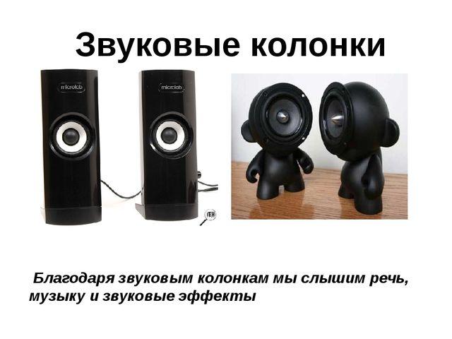 Благодаря звуковым колонкам мы слышим речь, музыку и звуковые эффекты Звуков...