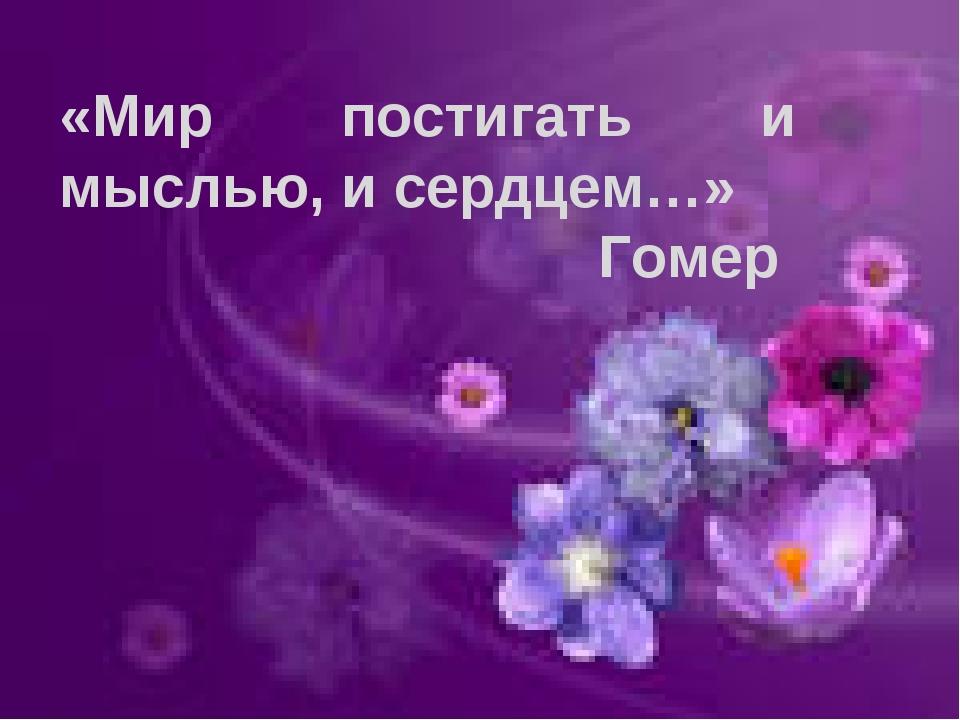 «Мир постигать и мыслью, и сердцем…» Гомер