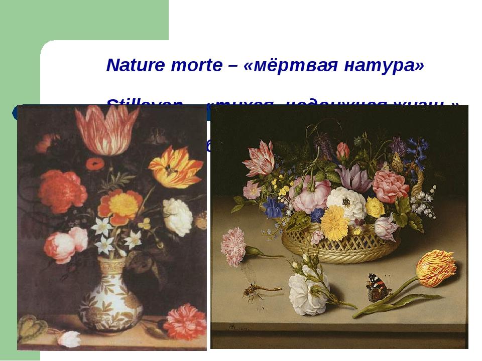 Nature morte – «мёртвая натура» Stilleven – «тихая, недвижная жизнь» Still-l...