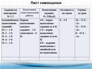 Лист самооценки Задания на повторение № 1-5 Выполнениесамостоятельнойработы В