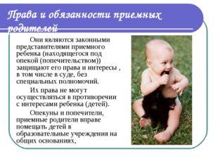 Они являются законными представителями приемного ребенка (находящегося под