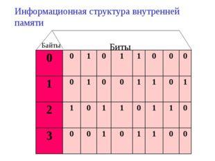 Биты Байты Информационная структура внутренней памяти
