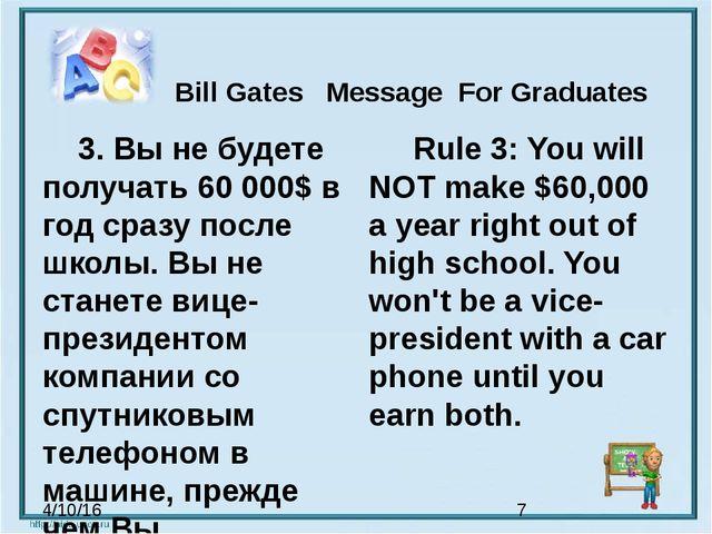 Bill Gates Message For Graduates 3. Вы не будете получать 60 000$ в год сра...
