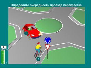 0 25 Определите очередность проезда перекрестка 1 2