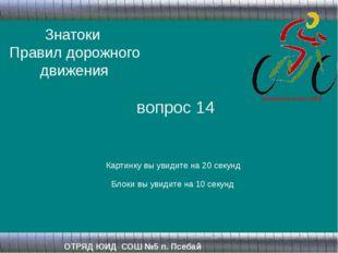 Знатоки Правил дорожного движения ОТРЯД ЮИД СОШ №5 п. Псебай вопрос 14 Картин