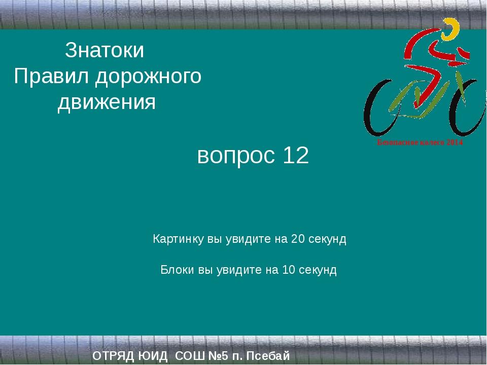 Знатоки Правил дорожного движения ОТРЯД ЮИД СОШ №5 п. Псебай вопрос 12 Картин...