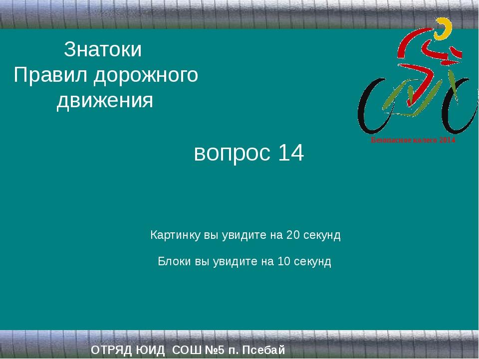 Знатоки Правил дорожного движения ОТРЯД ЮИД СОШ №5 п. Псебай вопрос 14 Картин...