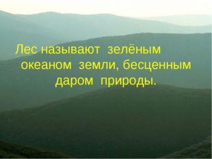 Лес называют зелёным океаном земли, бесценным даром природы.