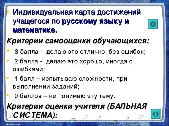 Индивидуальная карта достижений учащегося по русскому языку и математике. Кри...