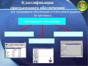 Все программное обеспечение условно можно разделить на три класса. Программн
