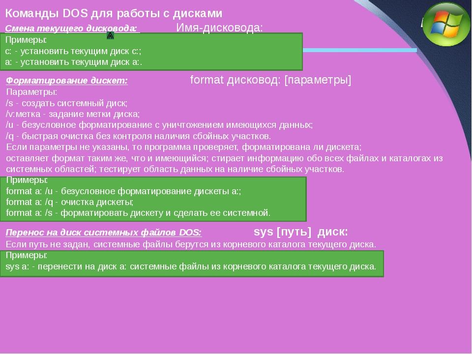 Команды DOS для работы с дисками Смена текущего дисковода: Имя-дисковода: Пр...