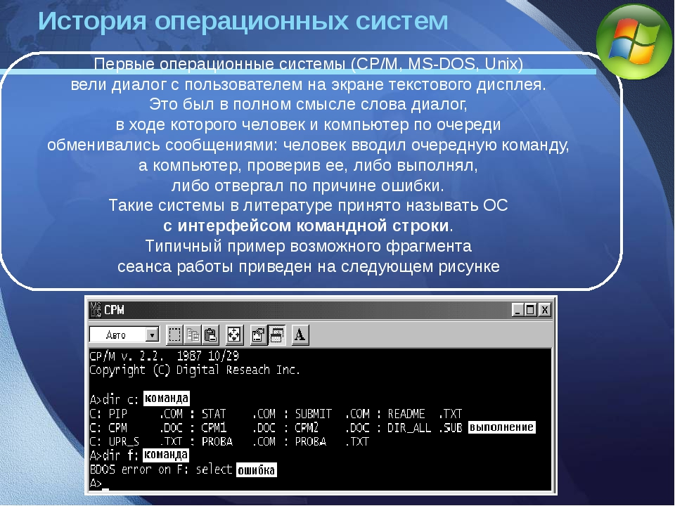 Первые операционные системы (CP/M, MS-DOS, Unix) вели диалог с пользователем...