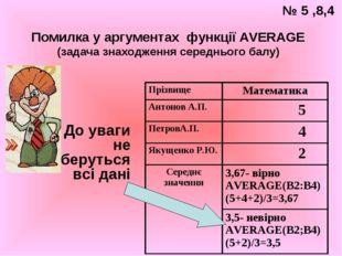 Помилка у аргументах функції AVERAGE (задача знаходження середнього балу) До