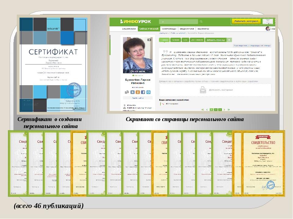 Сертификат о создании персонального сайта Скриншот со страницы персонального...