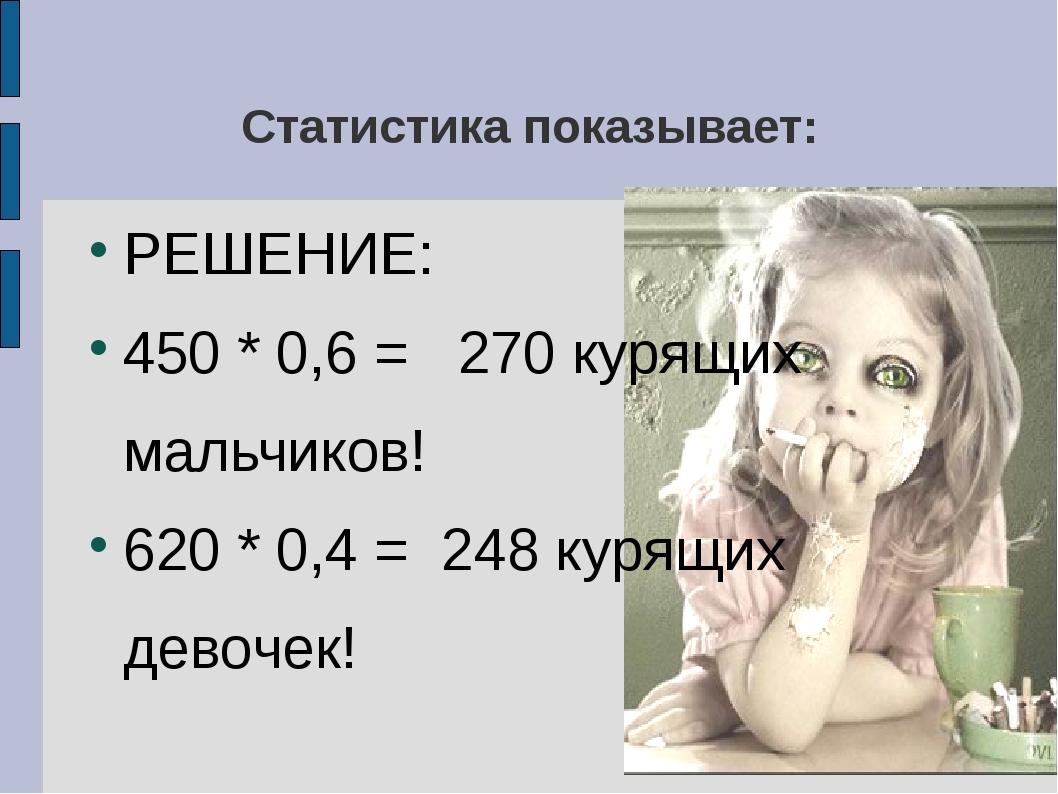 Статистика показывает: РЕШЕНИЕ: 450 * 0,6 = 270 курящих мальчиков! 620 * 0,4...