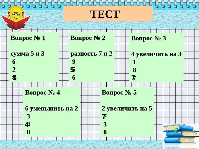 ТЕСТ Вопрос № 1 сумма 5 и 3 6 2 8 Вопрос № 2 разность 7 и 2 9 5 6 Во...