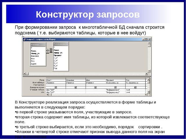При формировании запроса к многотабличной БД сначала строится подсхема ( т.е....