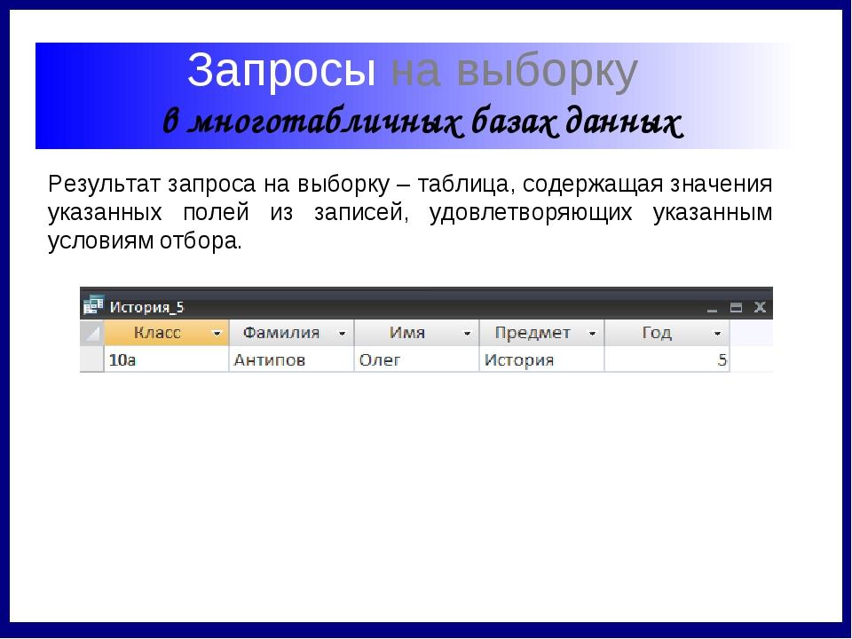 Запросы на выборку в многотабличных базах данных Результат запроса на выборк...