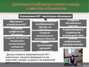 Данные элементы образовательной ИКТ – компетенции учащихся формируются при п