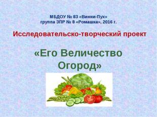 МБДОУ № 83 «Винни-Пух» группа ЗПР № 8 «Ромашка», 2016 г. Исследовательско-тв