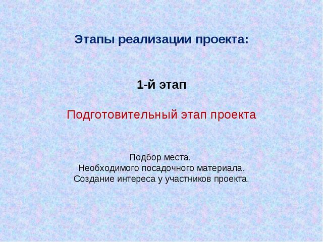Этапы реализации проекта: 1-й этап Подготовительный этап проекта Подбор мест...