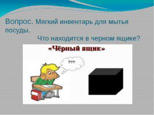 Вопрос. Мягкий инвентарь для мытья посуды. Что находится в черном ящике?