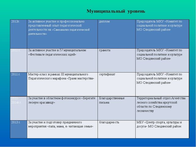 Муниципальный уровень  2013г. За активное участие и профессионально предста...