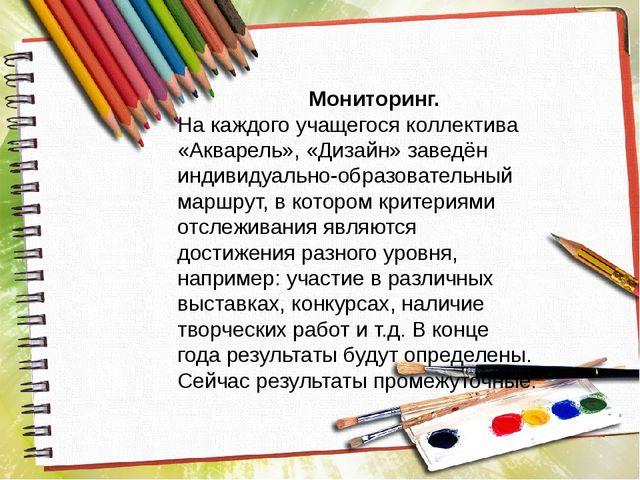 Мониторинг. На каждого учащегося коллектива «Акварель», «Дизайн» заведён инд...