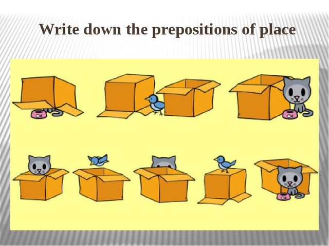 Write down the prepositions of place