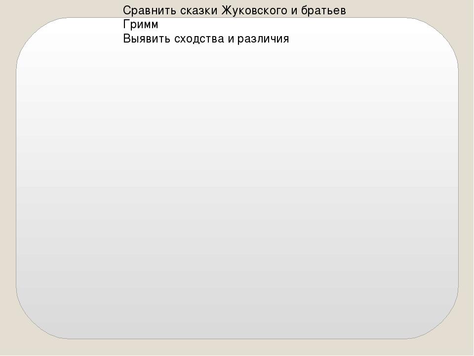 Сравнить сказки Жуковского и братьев Гримм Выявить сходства и различия