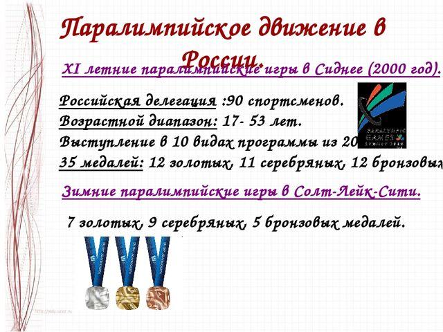 Паралимпийское движение в России. XI летние паралимпийские игры в Сиднее (200...