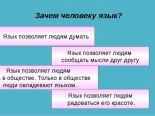 Зачем человеку язык? Язык позволяет людям сообщать мысли друг другу Язык позв