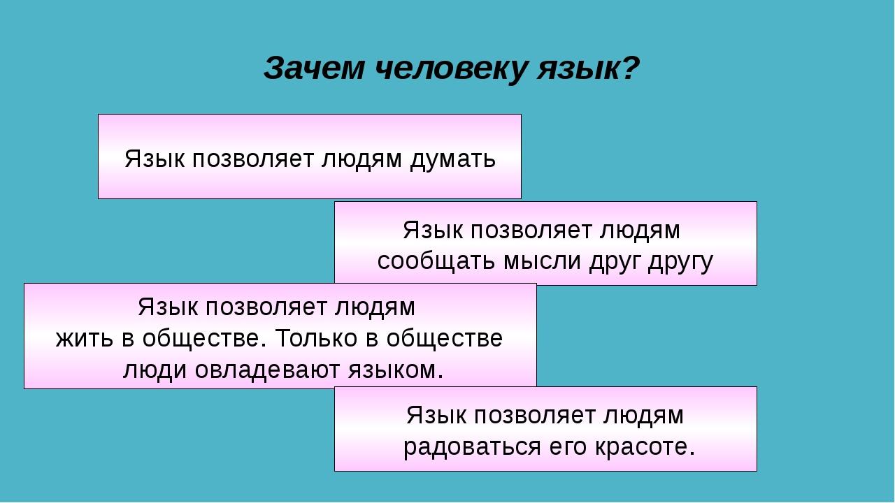 Зачем человеку язык? Язык позволяет людям сообщать мысли друг другу Язык позв...