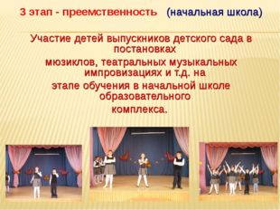 3 этап - преемственность (начальная школа) Участие детей выпускников детского
