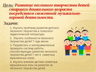 Задачи: 1. Изучить проблему развития детского песенного творчества в психолог