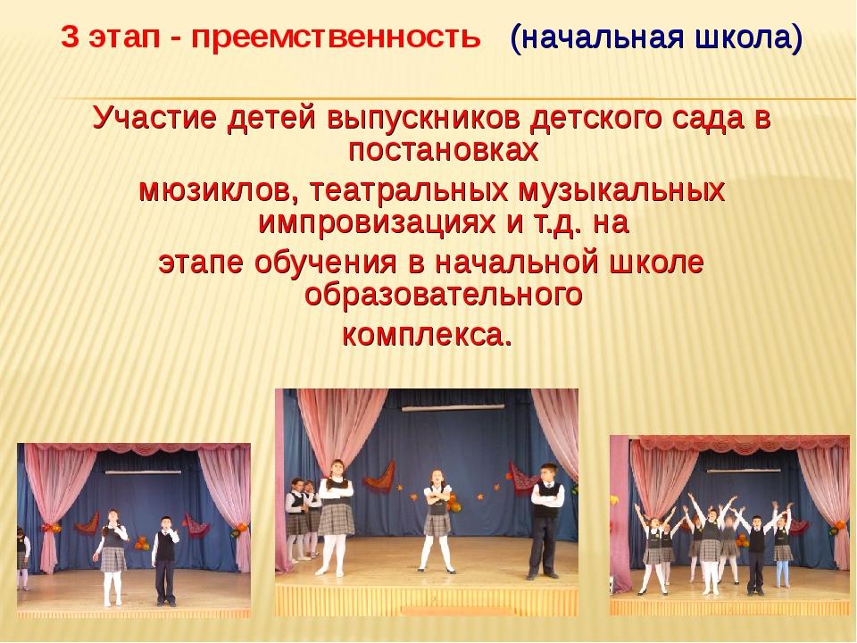 3 этап - преемственность (начальная школа) Участие детей выпускников детского...