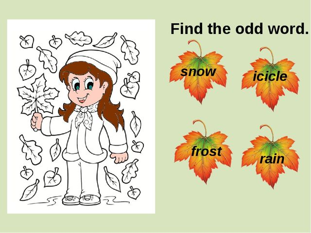 Find the odd word. snow rain frost icicle