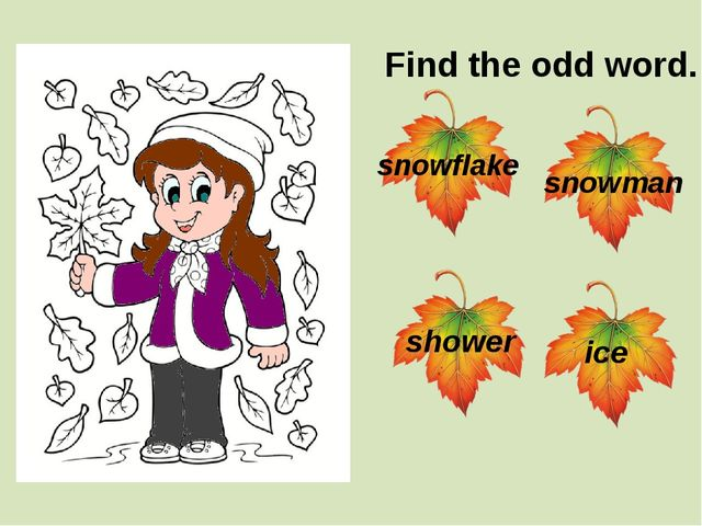 Find the odd word. snowflake ice shower snowman