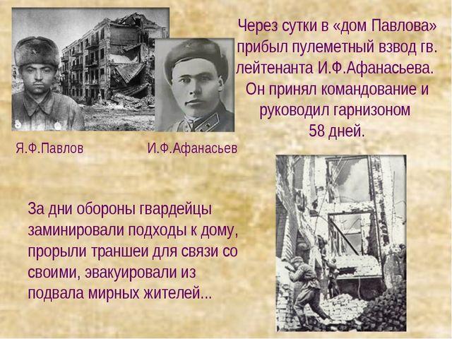 Через сутки в «дом Павлова» прибыл пулеметный взвод гв. лейтенанта И.Ф.Афанас...