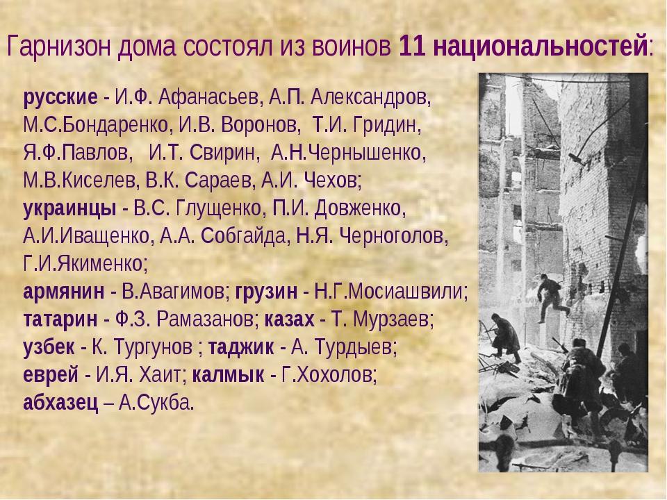 русские - И.Ф. Афанасьев, А.П. Александров, М.С.Бондаренко, И.В. Воронов, Т.И...