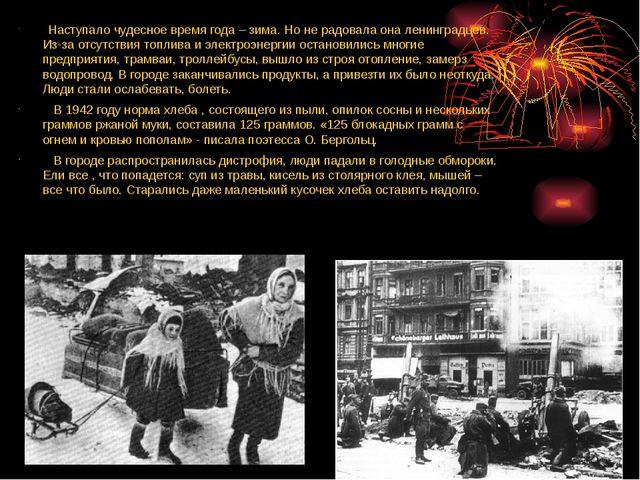Наступало чудесное время года – зима. Но не радовала она ленинградцев. Из-за...