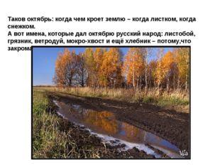 Таков октябрь: когда чем кроет землю – когда листком, когда снежком. А вот им
