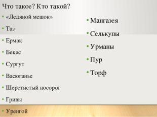Что такое? Кто такой? «Ледяной мешок» Таз Ермак Бекас Сургут Васюганье Шерсти