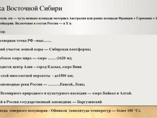 Визитка Восточной Сибири Площадь - 7 млн. км — чуть меньше площади материка А