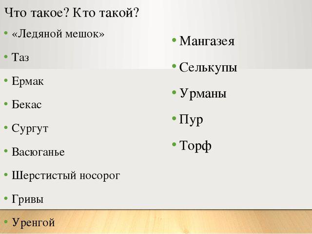 Что такое? Кто такой? «Ледяной мешок» Таз Ермак Бекас Сургут Васюганье Шерсти...