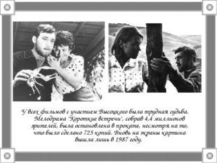 """У всех фильмов с участием Высоцкого была трудная судьба. Мелодрама """"Короткие"""